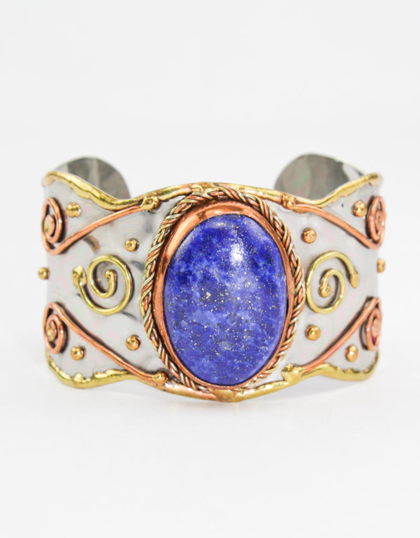 Anju Jewelry Mixed Metal Lapis Stone Bracelet