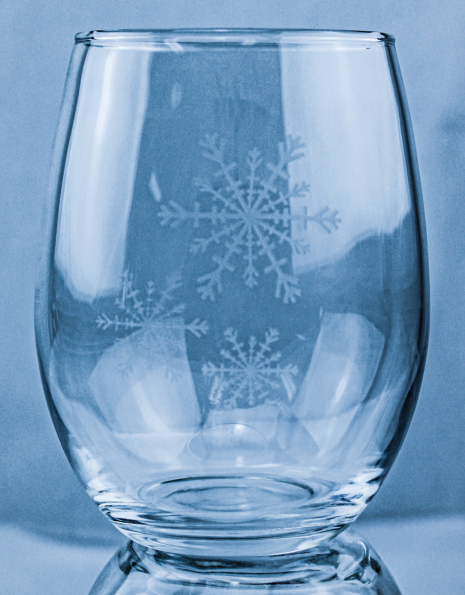 J Charles Stemless Wine - Winter Snowflake Etched Glass