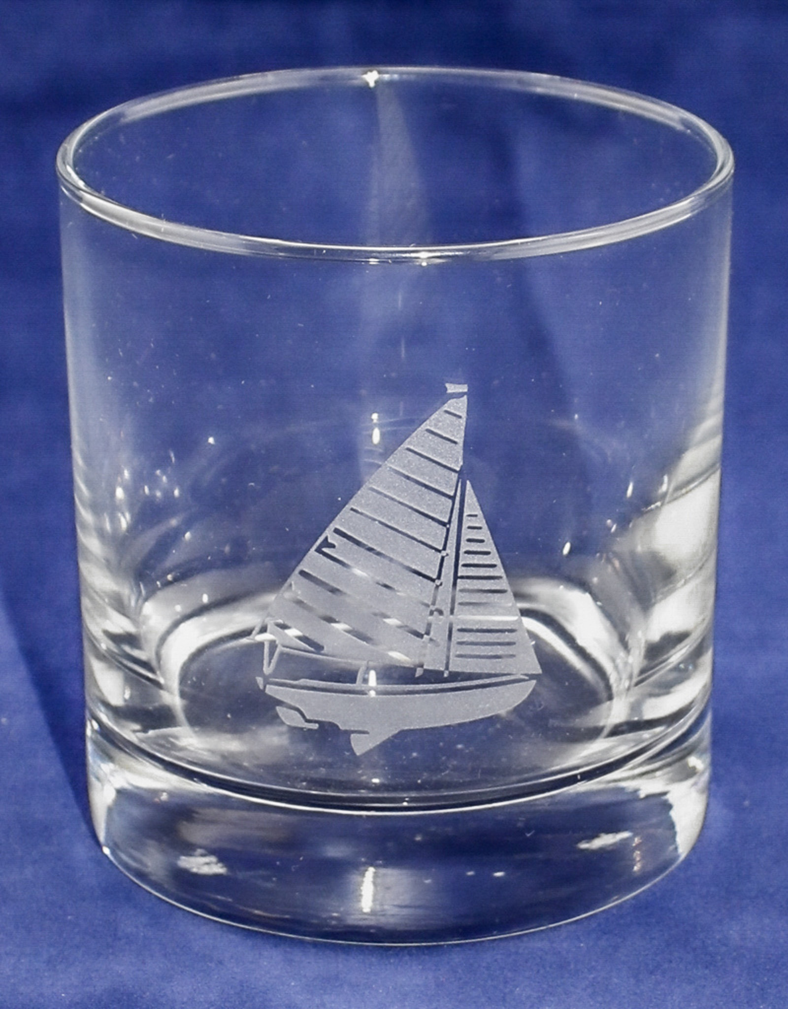 J Charles Rocks Glass- Sailboat
