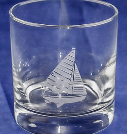 J Charles Rocks Glass- Sailboat