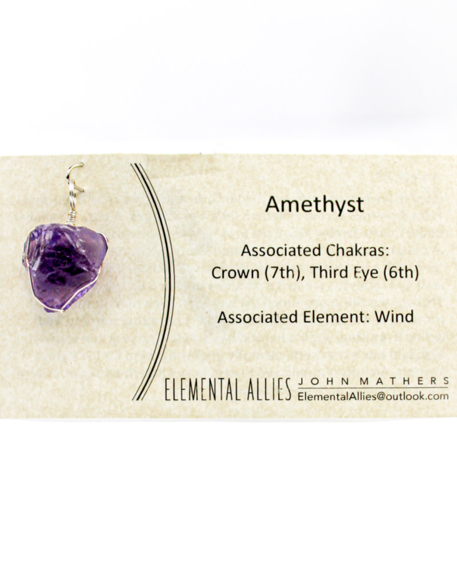 Elemental Allies Amethyst Pendant Genuine Gemstone, Wire Wrapped  Birthstone - August