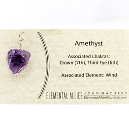 Elemental Allies Amethyst Pendant Genuine Gemstone