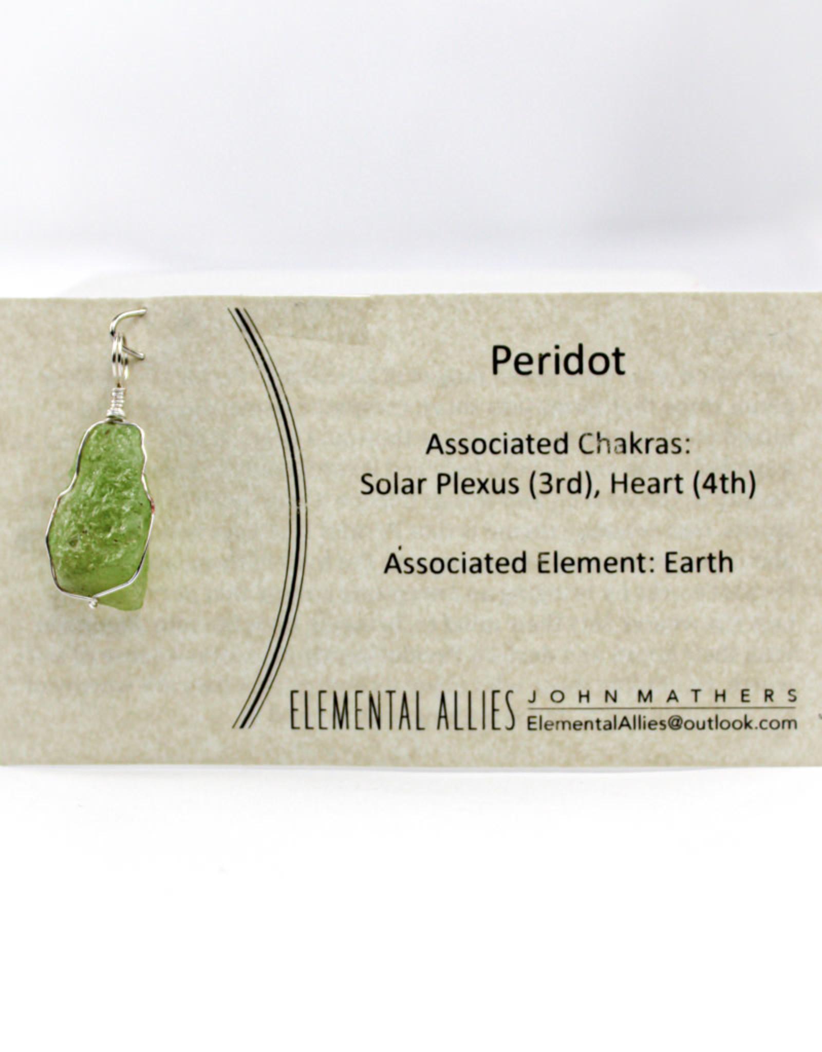 Elemental Allies Peridot Pendant Genuine Gemstone, Wire Wrapped  Birthstone