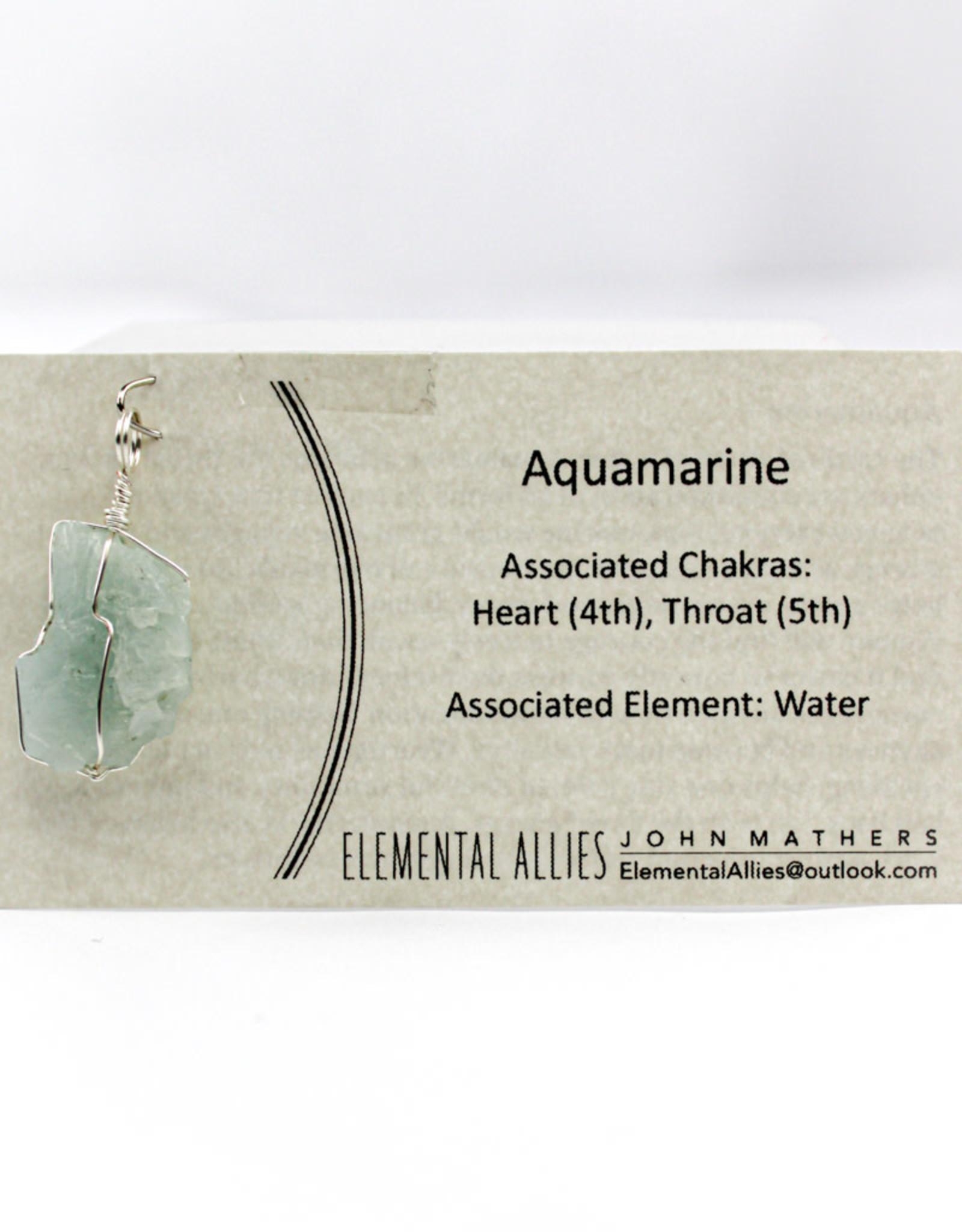 Elemental Allies Aquamarine Pendant Genuine Gemstone, Wire Wrapped  Birthstone - March