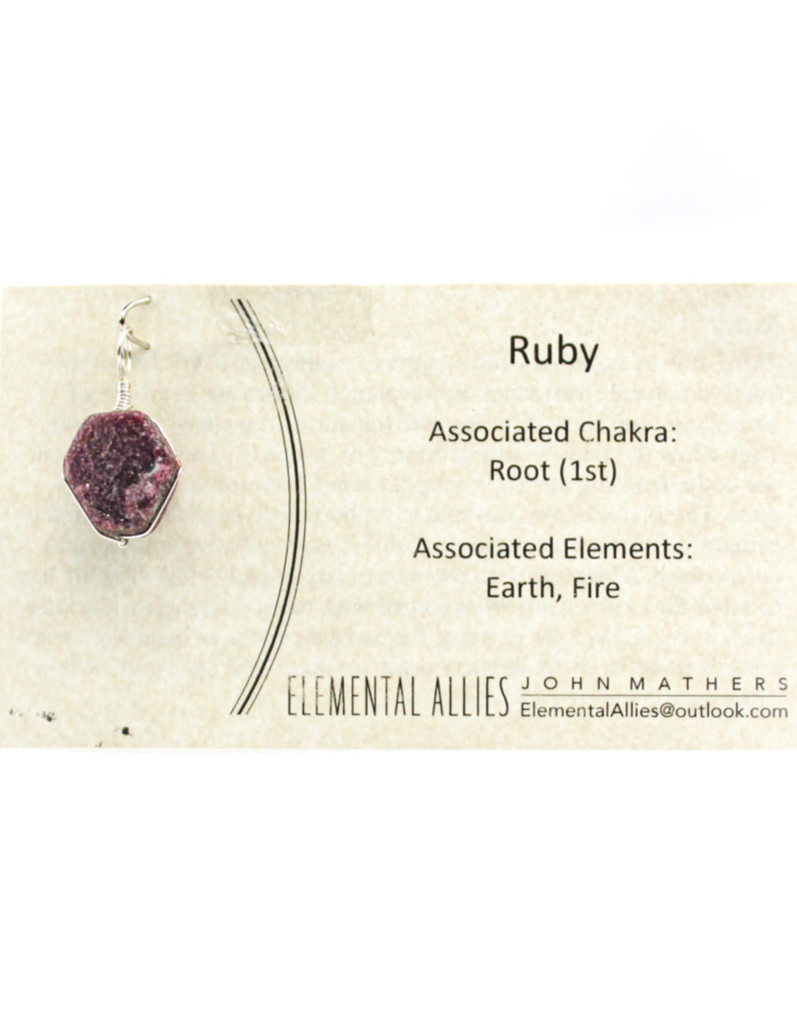 Elemental Allies Ruby Pendant Genuine Gemstone, Wire Wrapped  Birthstone - July