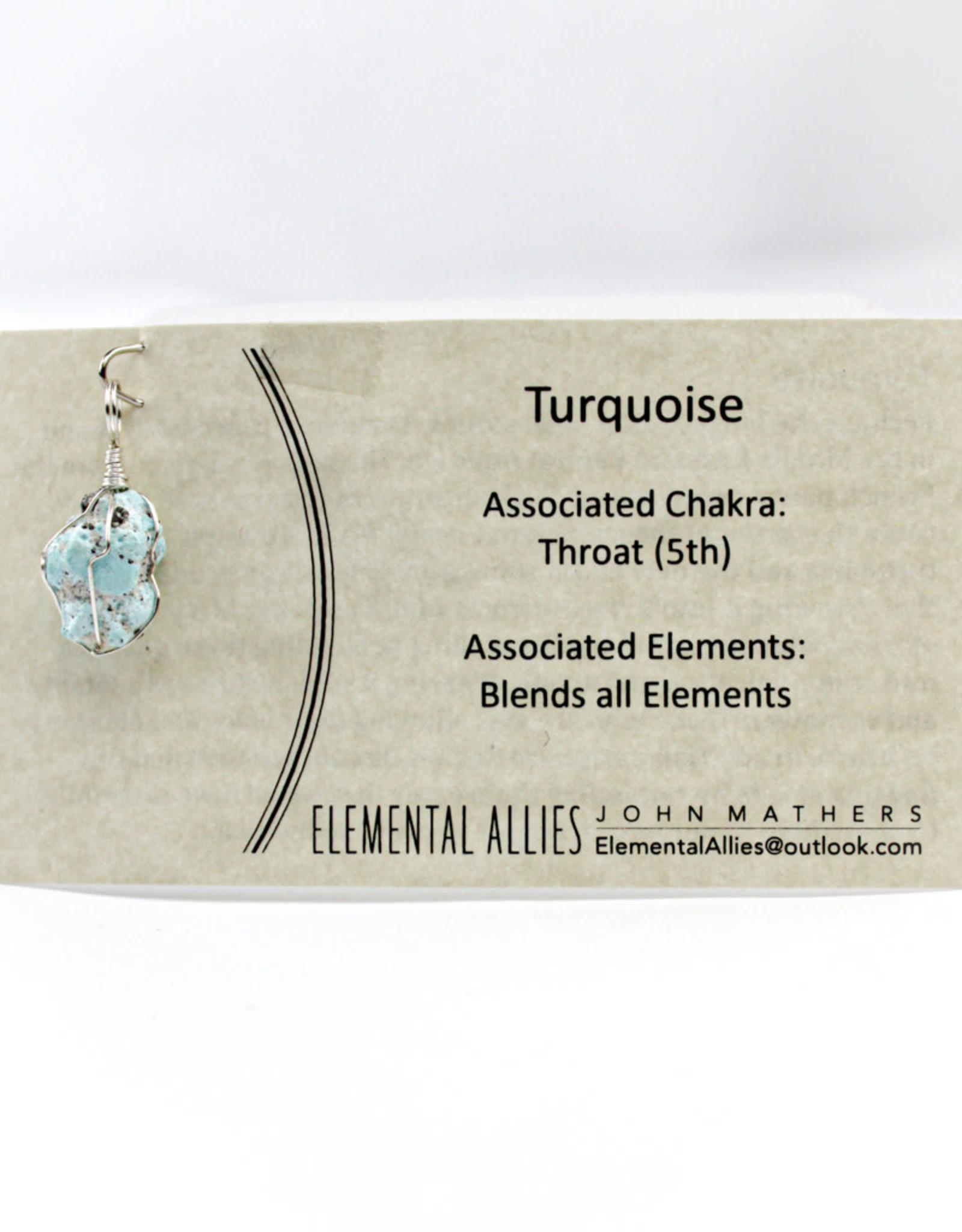 Elemental Allies Turquoise Pendant Genuine Gemstone, Wire Wrapped  Birthstone - December