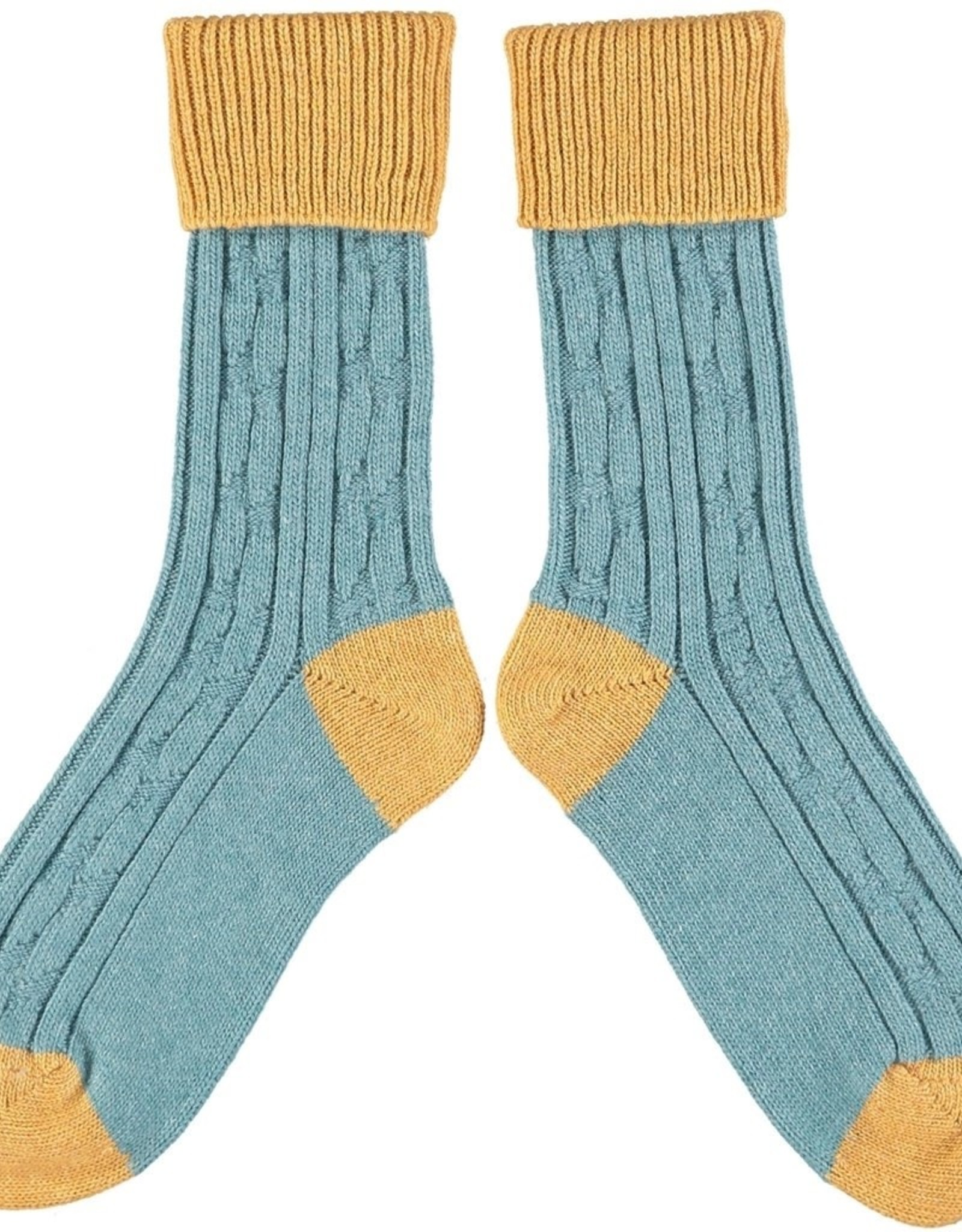 Catherine Tough Ladies Cashmere Slouch Teal/Gold