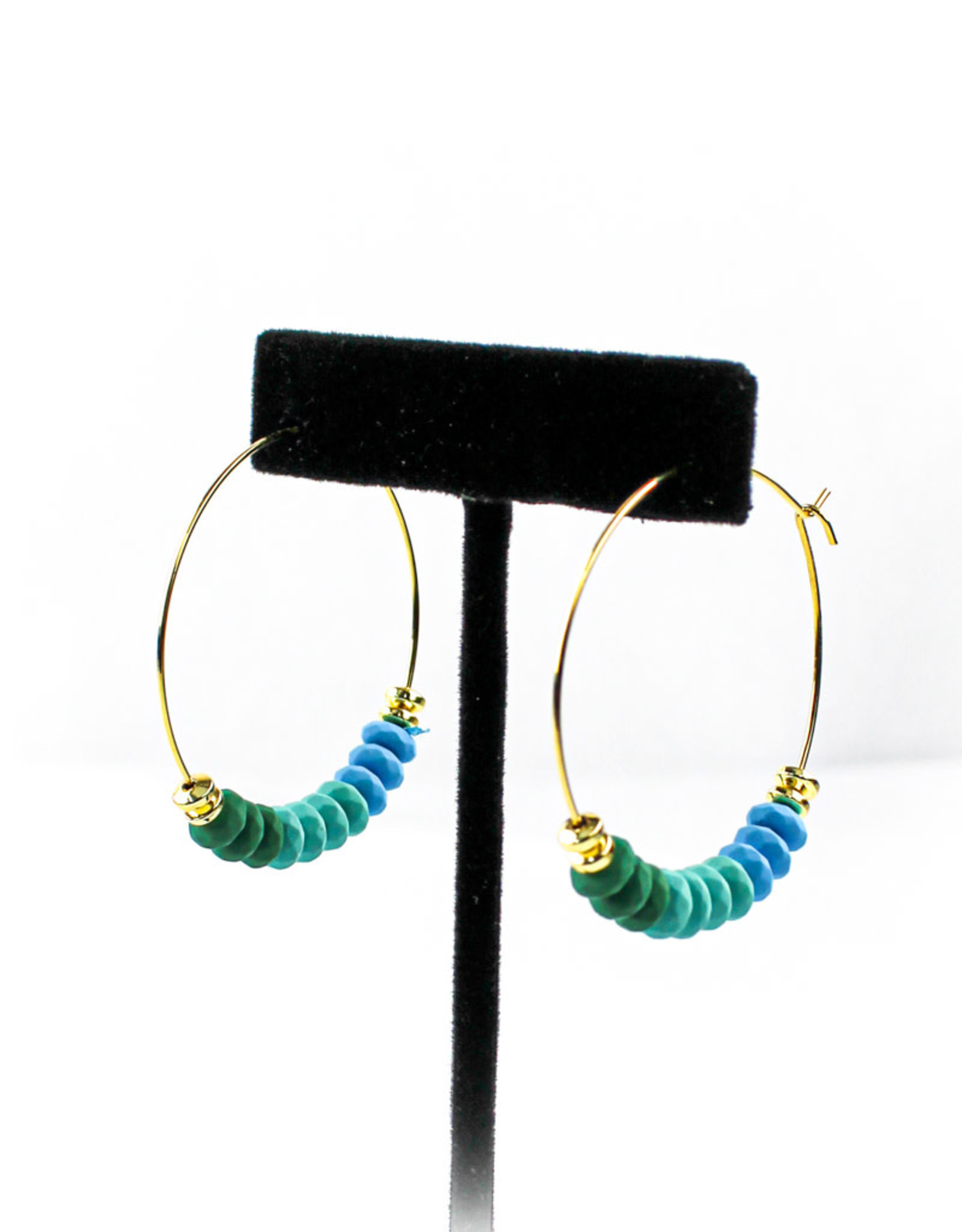 Mesa Blue Ocean Beaded Hoop Earrings