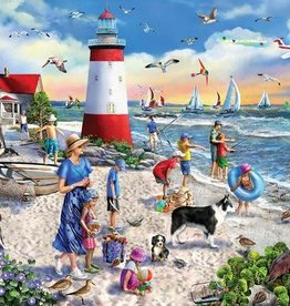 White Mountain Puzzles Lighthouse Beach 550pc Puzzle
