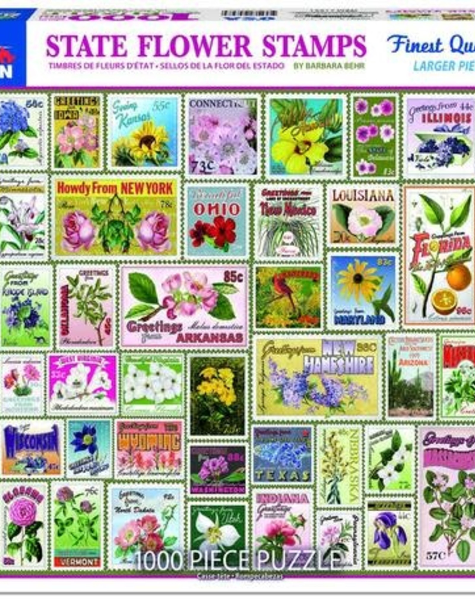 White Mountain Puzzles State Flower Stamps 1000pc Puzzle
