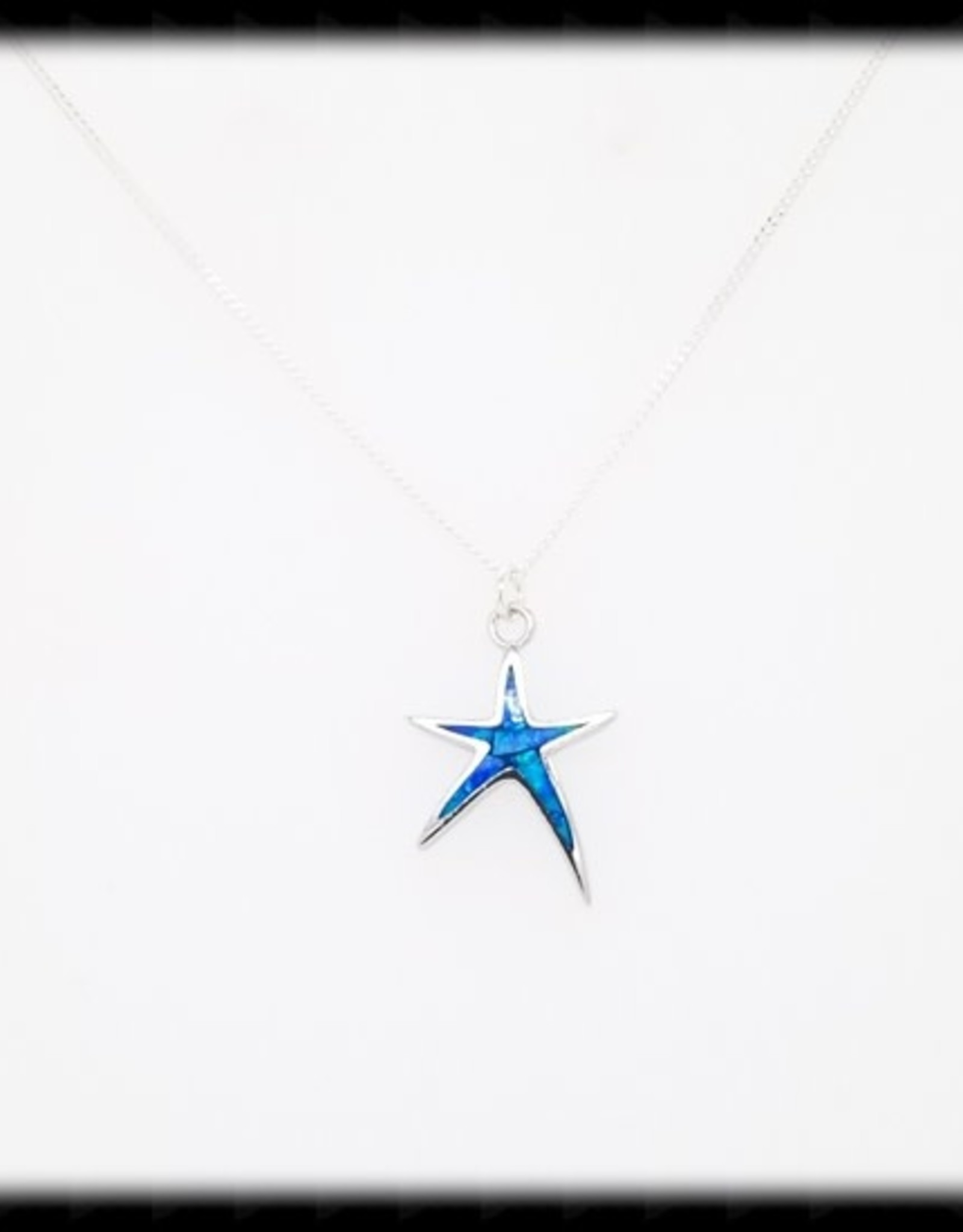 The Beaded Wire Blue Starfish Necklace