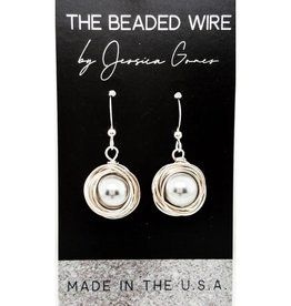 The Beaded Wire Wrapped Pearl Earrings Grey
