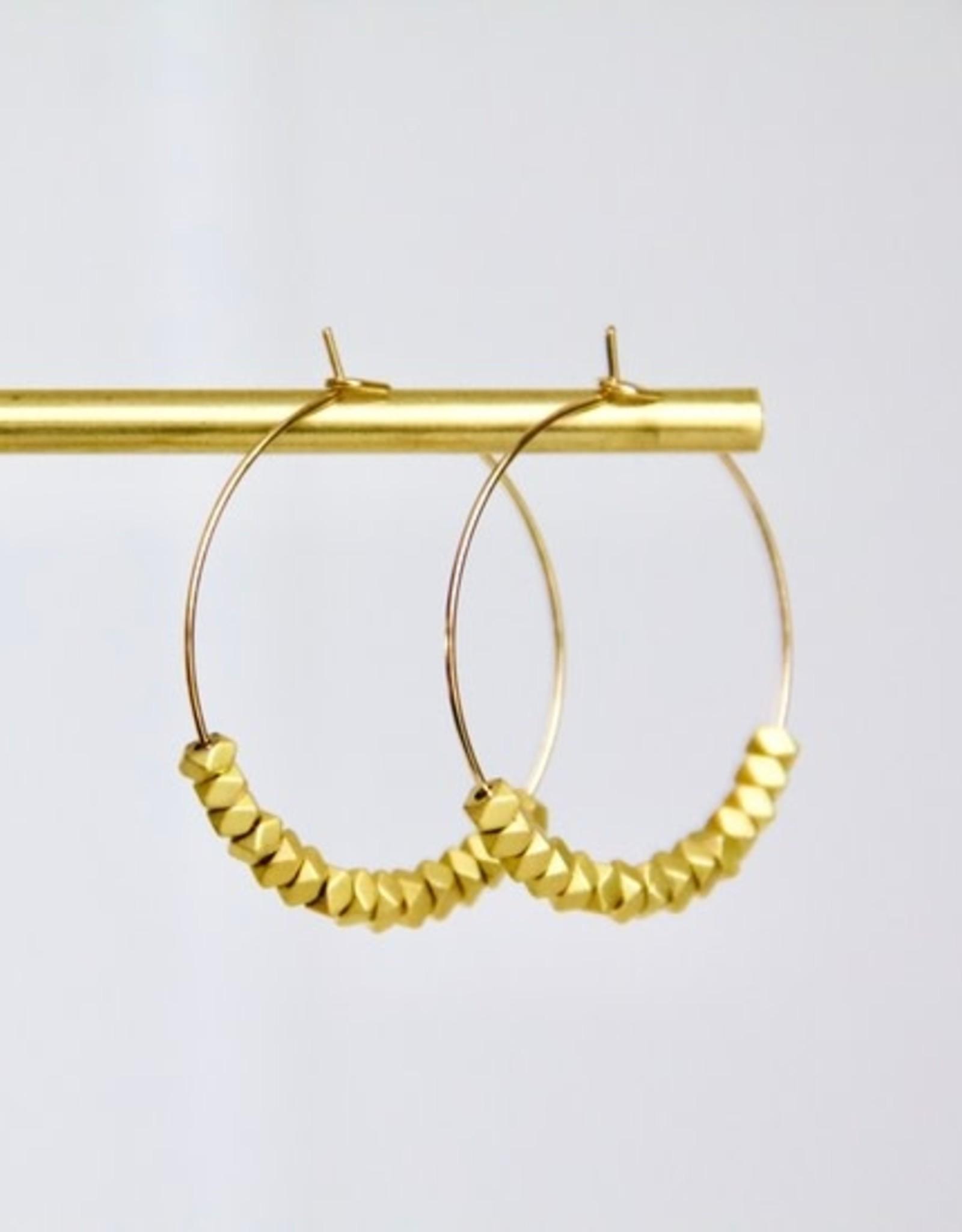 Mesa Blue Matte Gold Beaded Hoop Earrings