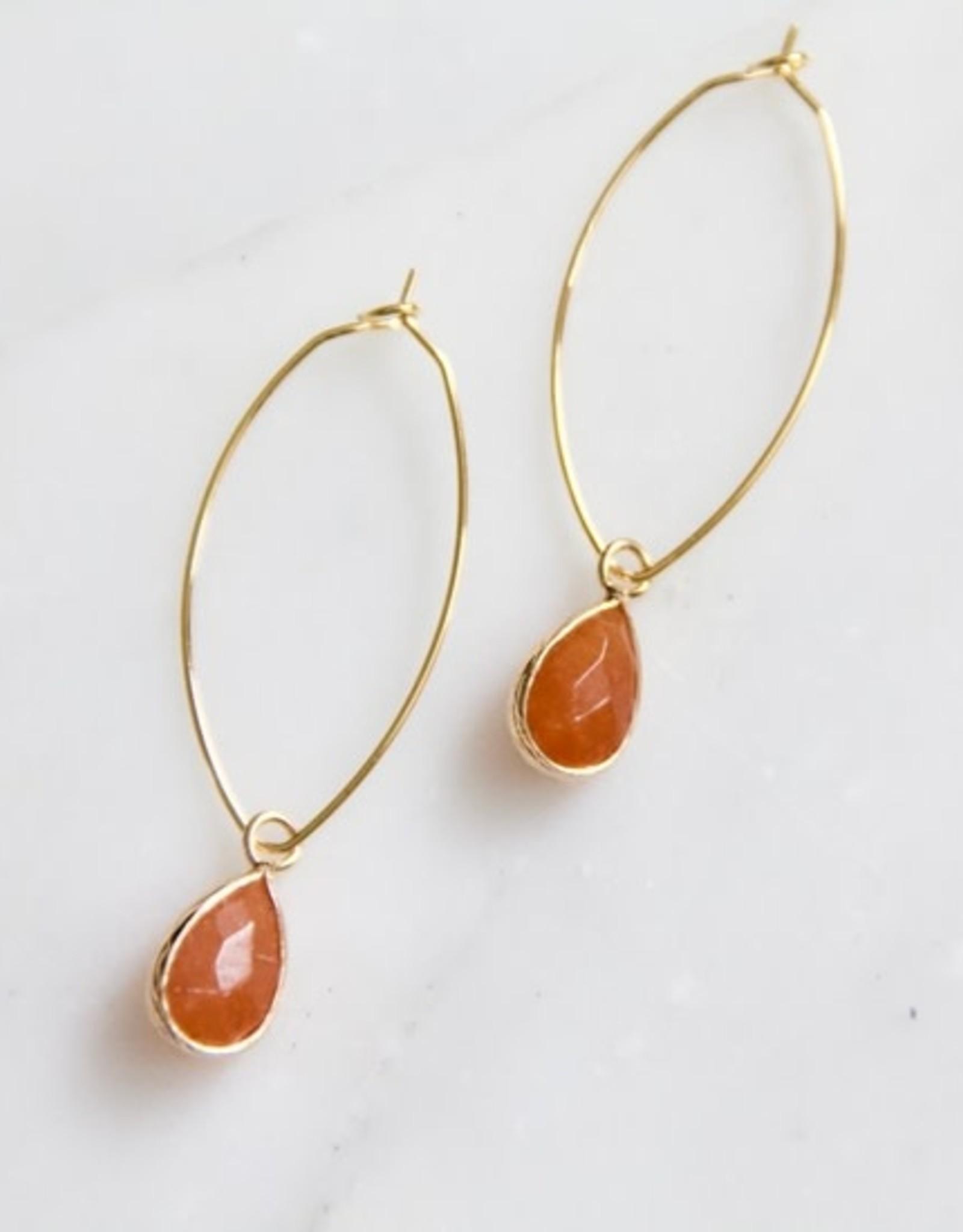Mesa Blue Peach Moonstone Hoop Earrings