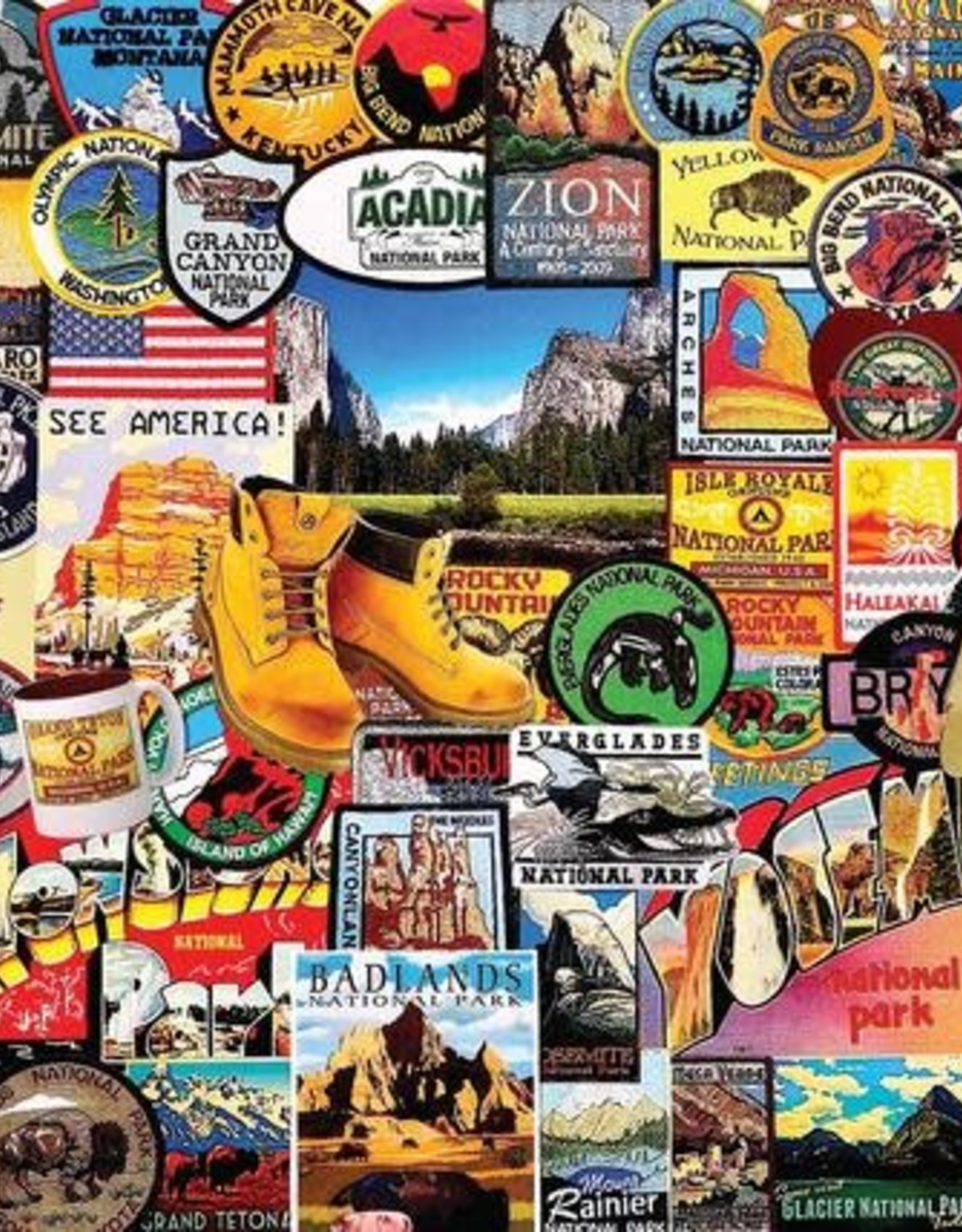 White Mountain Puzzles National Park Badges 1000pc Puzzle