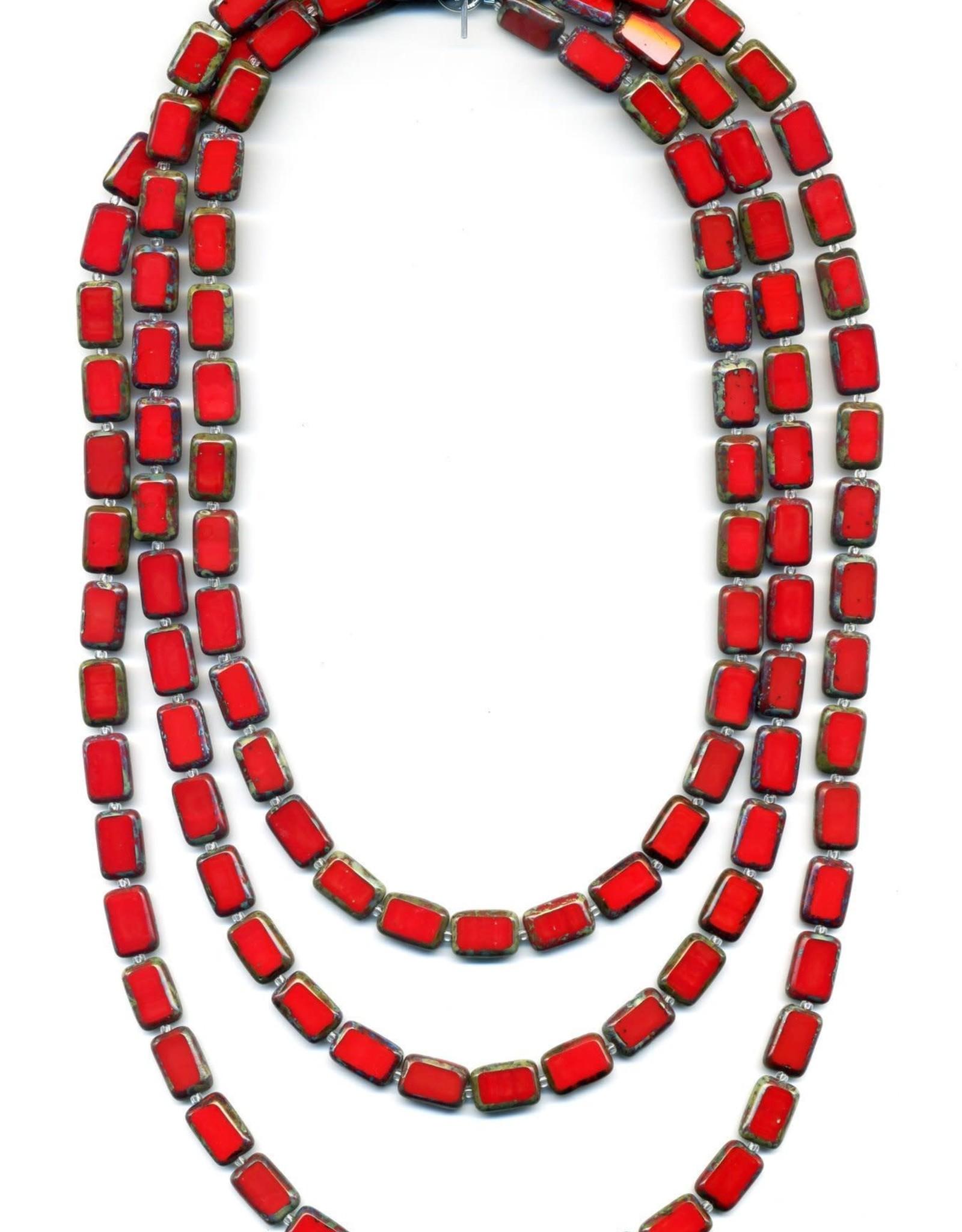 """Stefanie Wolf Designs 60"""" Trilogy Necklace Red"""