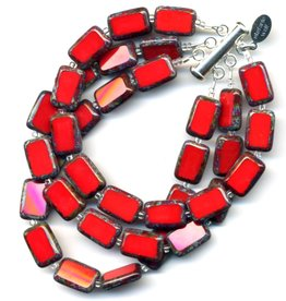 Stefanie Wolf Designs Trilogy Bracelet 3 Strand Red