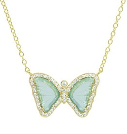Kamaria Mini Butterfly Necklace in Aqua Green