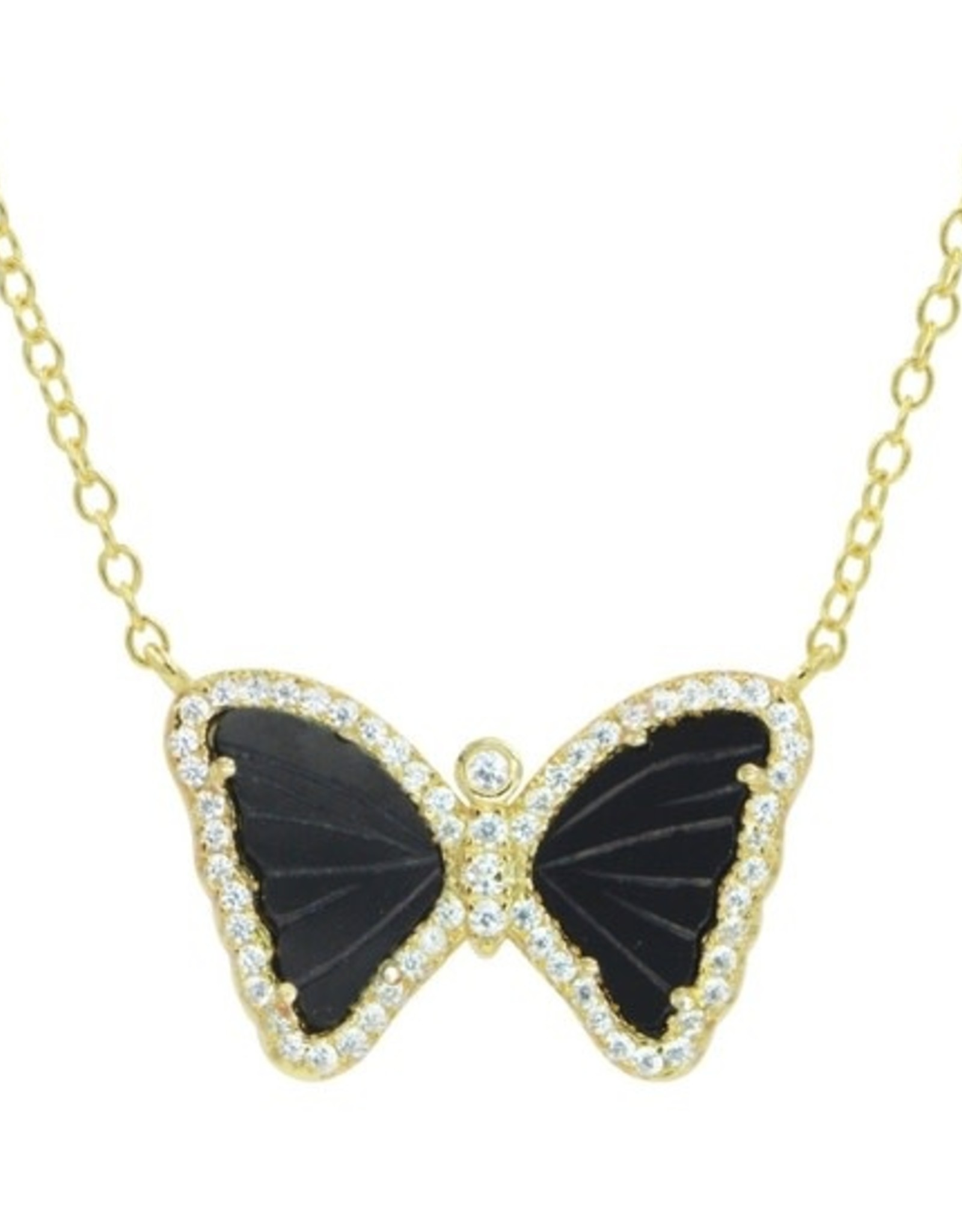 Kamaria Mini Butterfly Necklace in Black Onyx