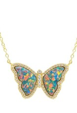 Kamaria Opal Butterfly Necklace with Crystals - Black Opal, Gold