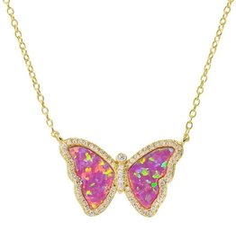 Kamaria Opal Butterfly Necklace with Crystals - Pink Opal, Gold