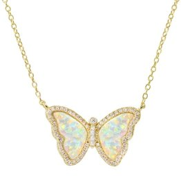 Kamaria Opal Butterfly Necklace with Crystals - White Opal, Gold