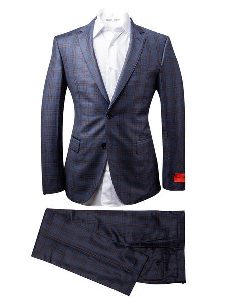 League of Rebels Enzo Navy Plaid Suit