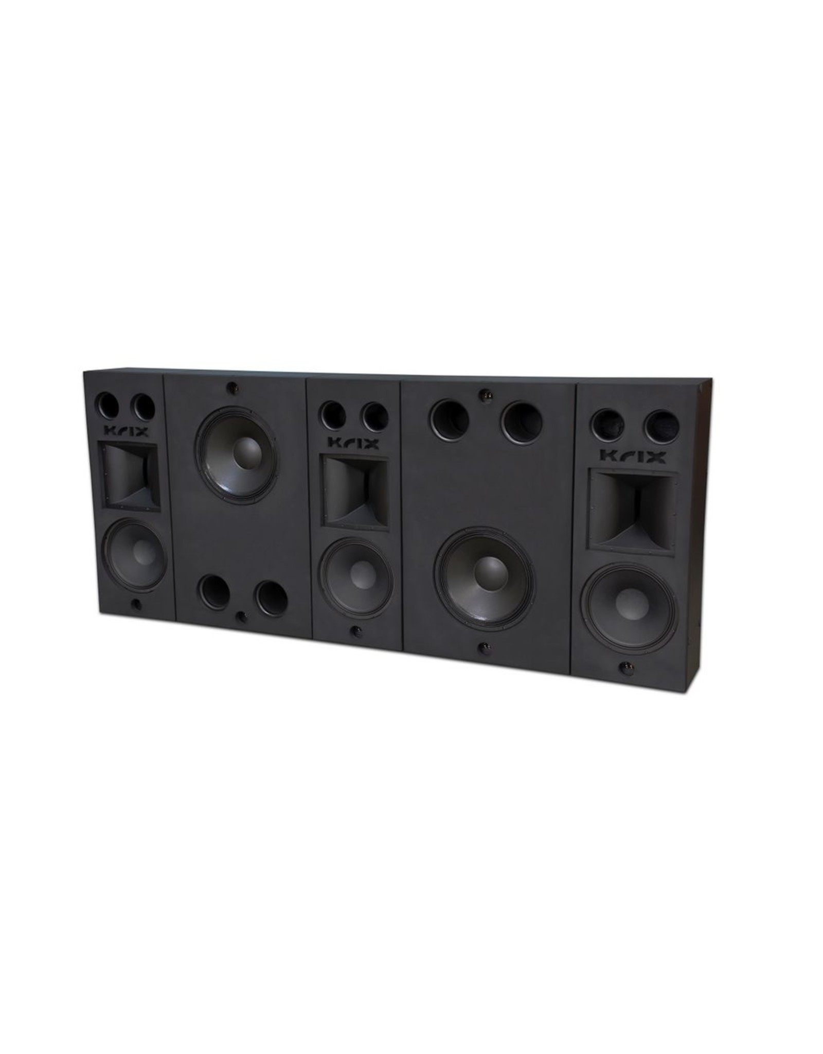KRIX KRIX - MX-30 MODULAR FULL BEHIND SCREEN SYSTEM Total System Dimensions: 1218mm High (including feet) x 2865mm Wide x 335mm Deep Comprising three main channel modules (left, centre, right), each module including: - High Frequency Krix patented horn wit
