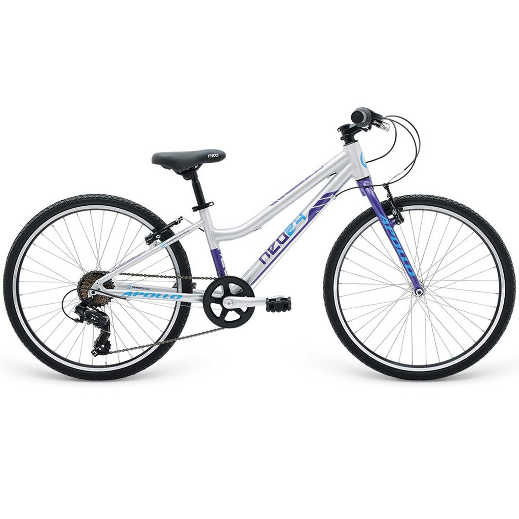 """Apollo NEO GIRLS GEARED 24"""" 7s BRUSHED ALLOY/PRP/BLU"""