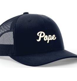 Richardson Navy Trucker Cap with  Cursive Pope White with Gold Outline