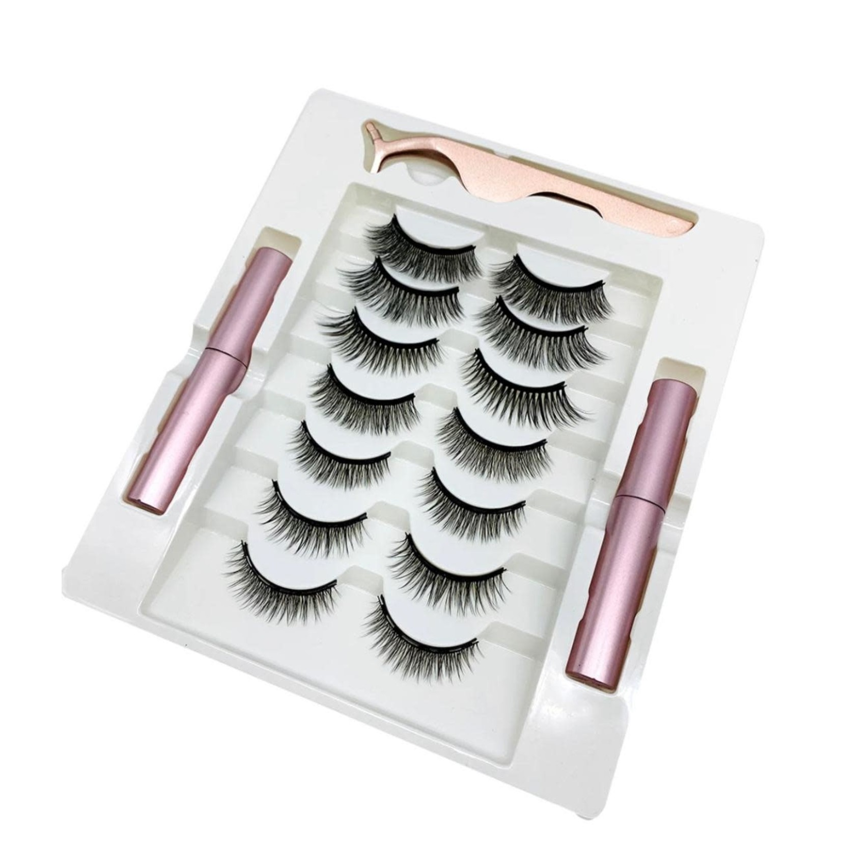 712 - 7 VARIOUS SIZE MAGNETIC LASHES 2 EYELINER'S AND 1 LASH APPLICATOR