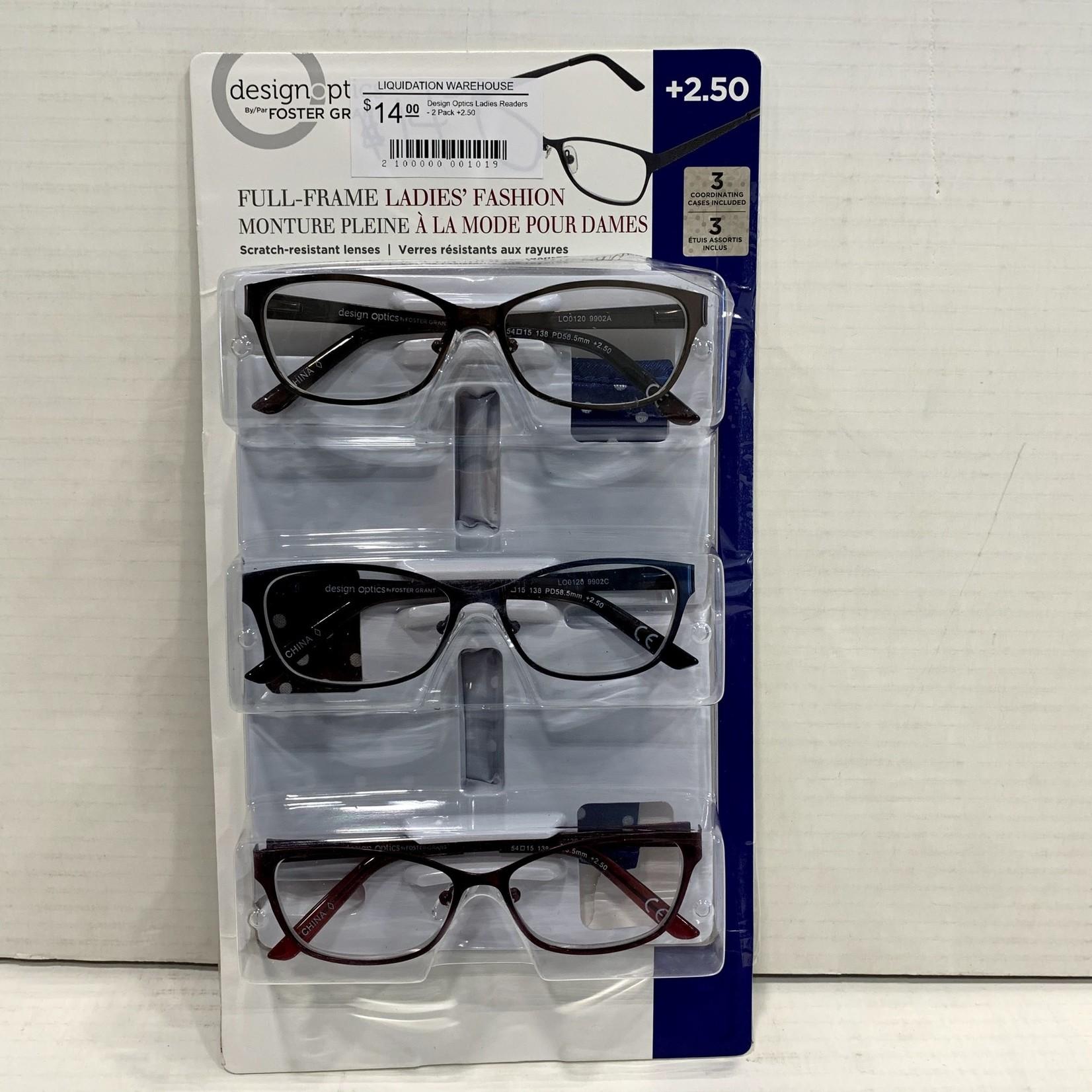 Design Optics Ladies Readers - 3 Pack +2.50