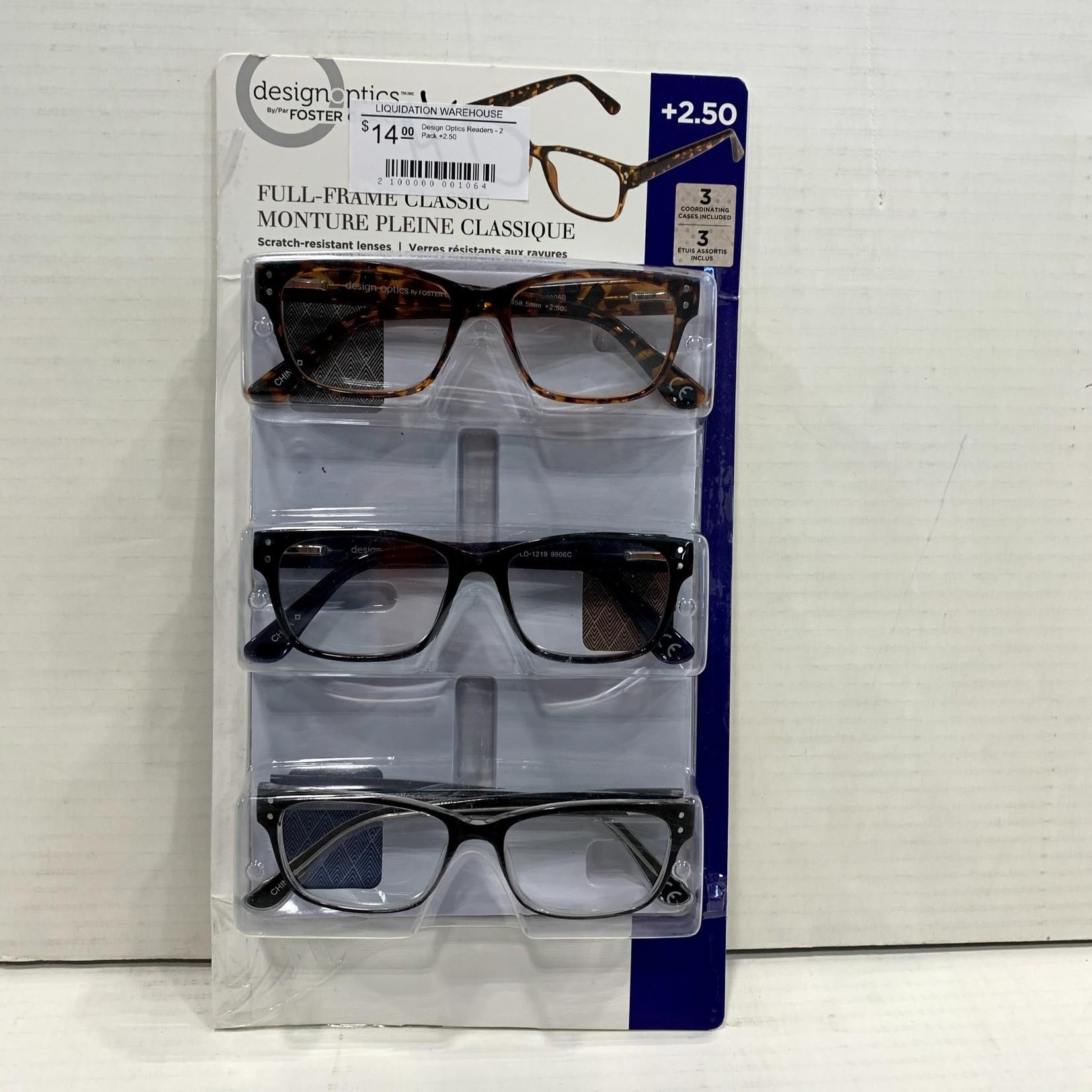 Design Optics Readers - 3 Pack +2.50