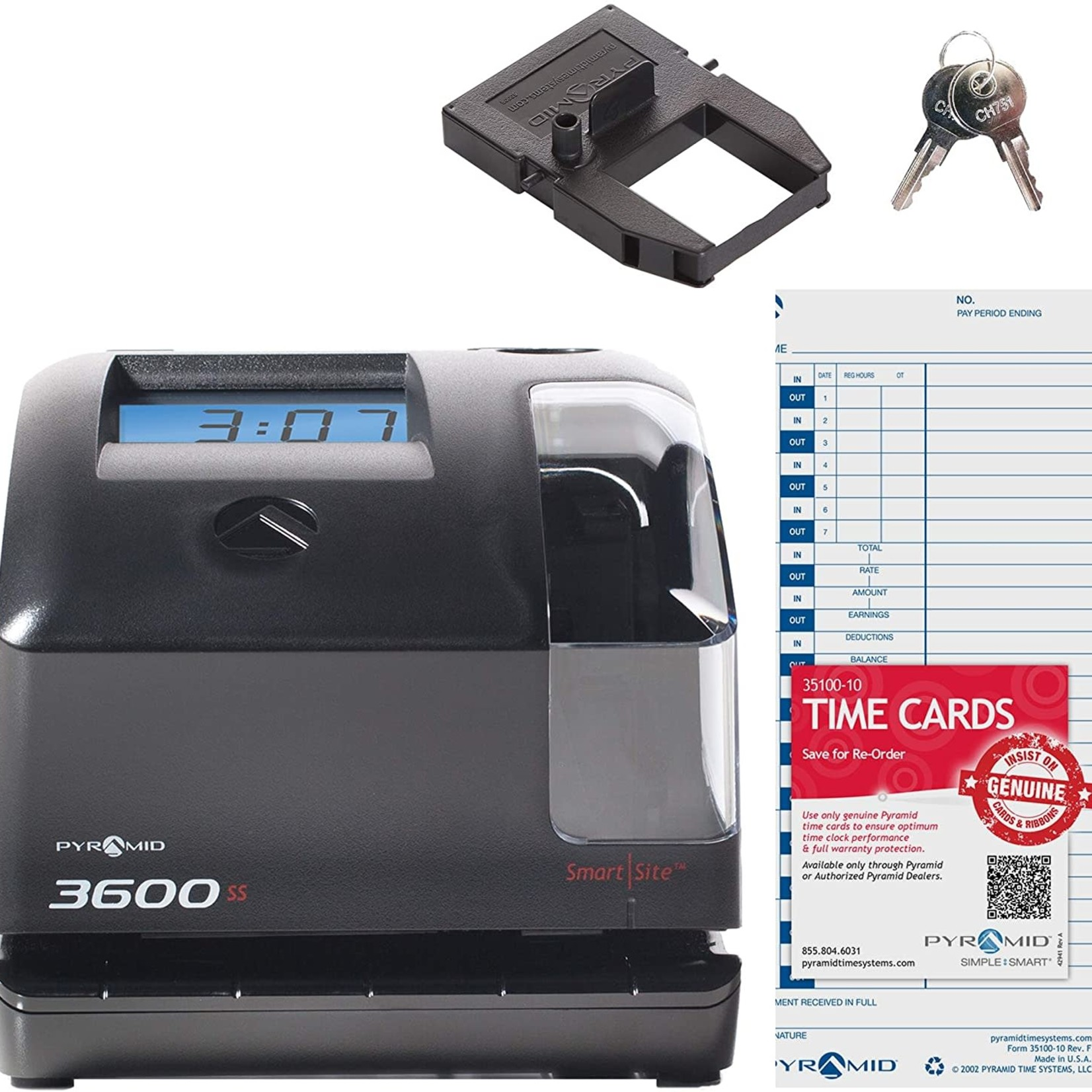 Pyramid Time Systems 3600SS Time Clock & Document Stamp **Open Box
