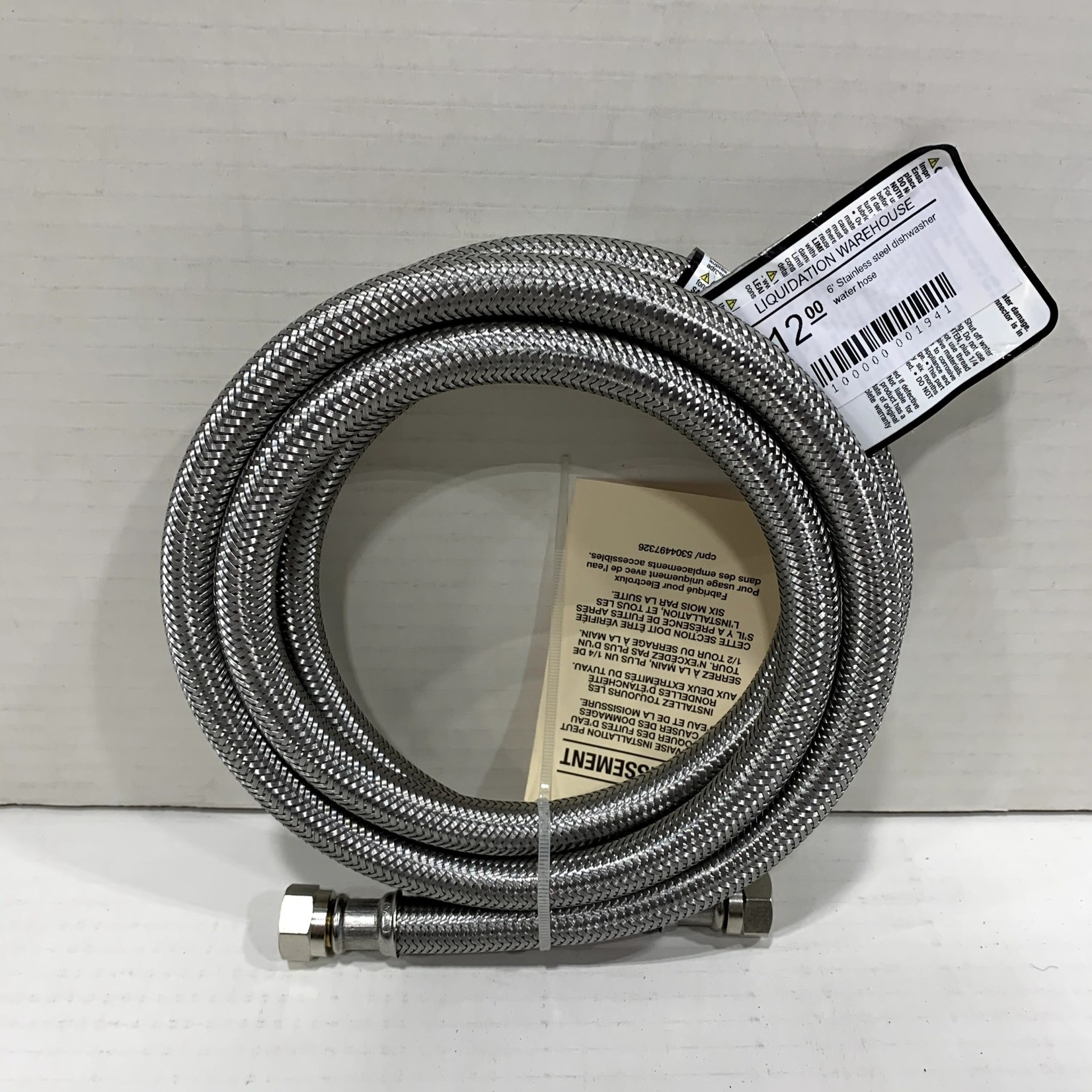6' Stainless steel dishwasher water hose