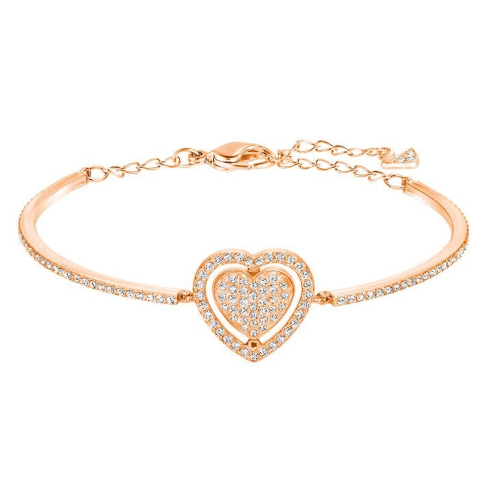 Swarovski Rose Gold Heart Engaged Bracelet/Bangle