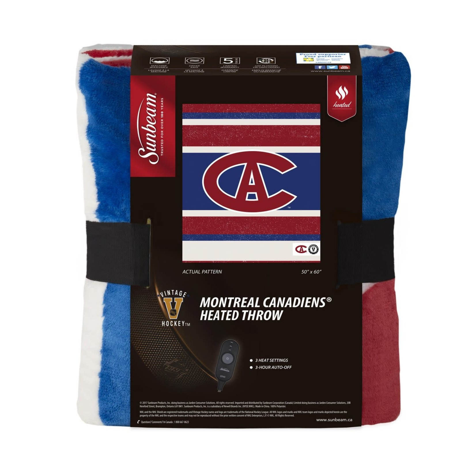 SUNBEAM HEATED NHL THROW - MONTREAL