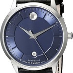 Movado Blue Face Leather Strap Mens Watch
