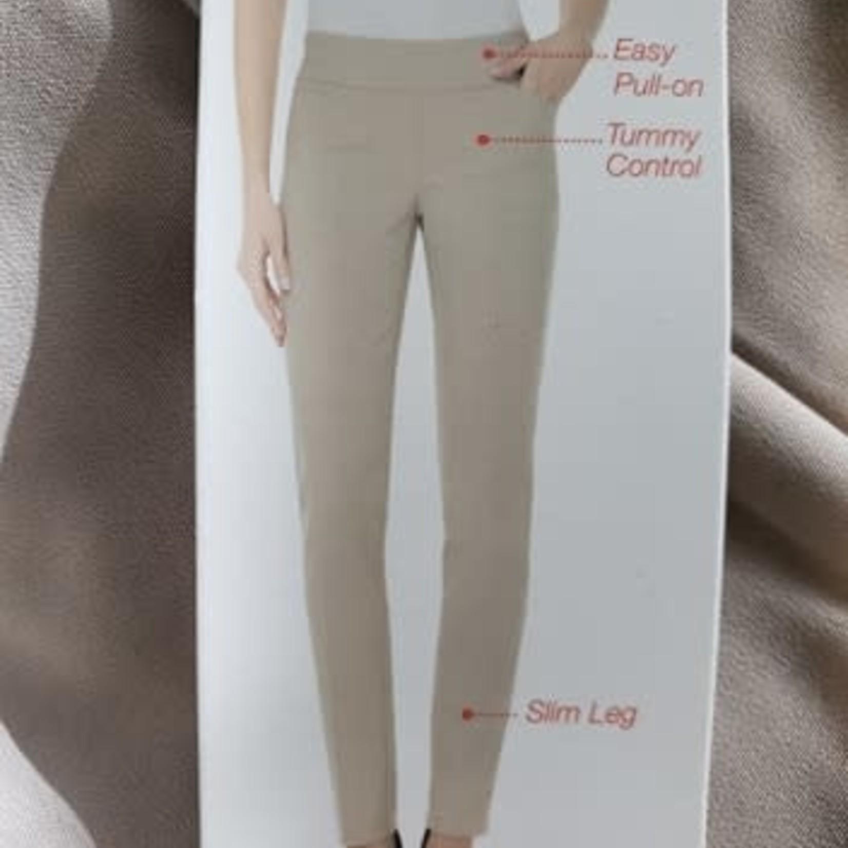 UP! Tummy Control Pull On Slim Leg Pants TAN  4