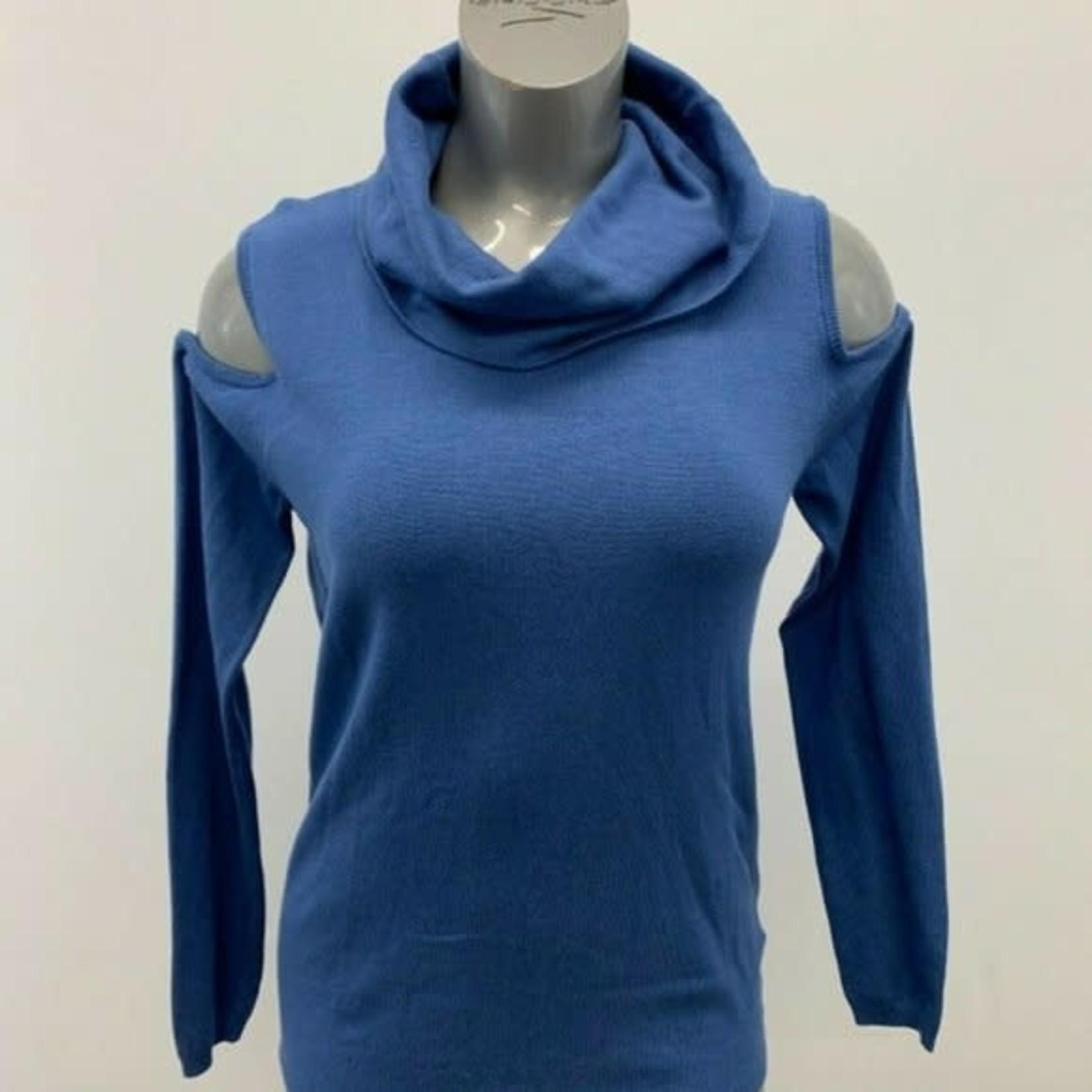 Buffalo David Bitton Ladies Open Shoulder sweater BLUE Size M