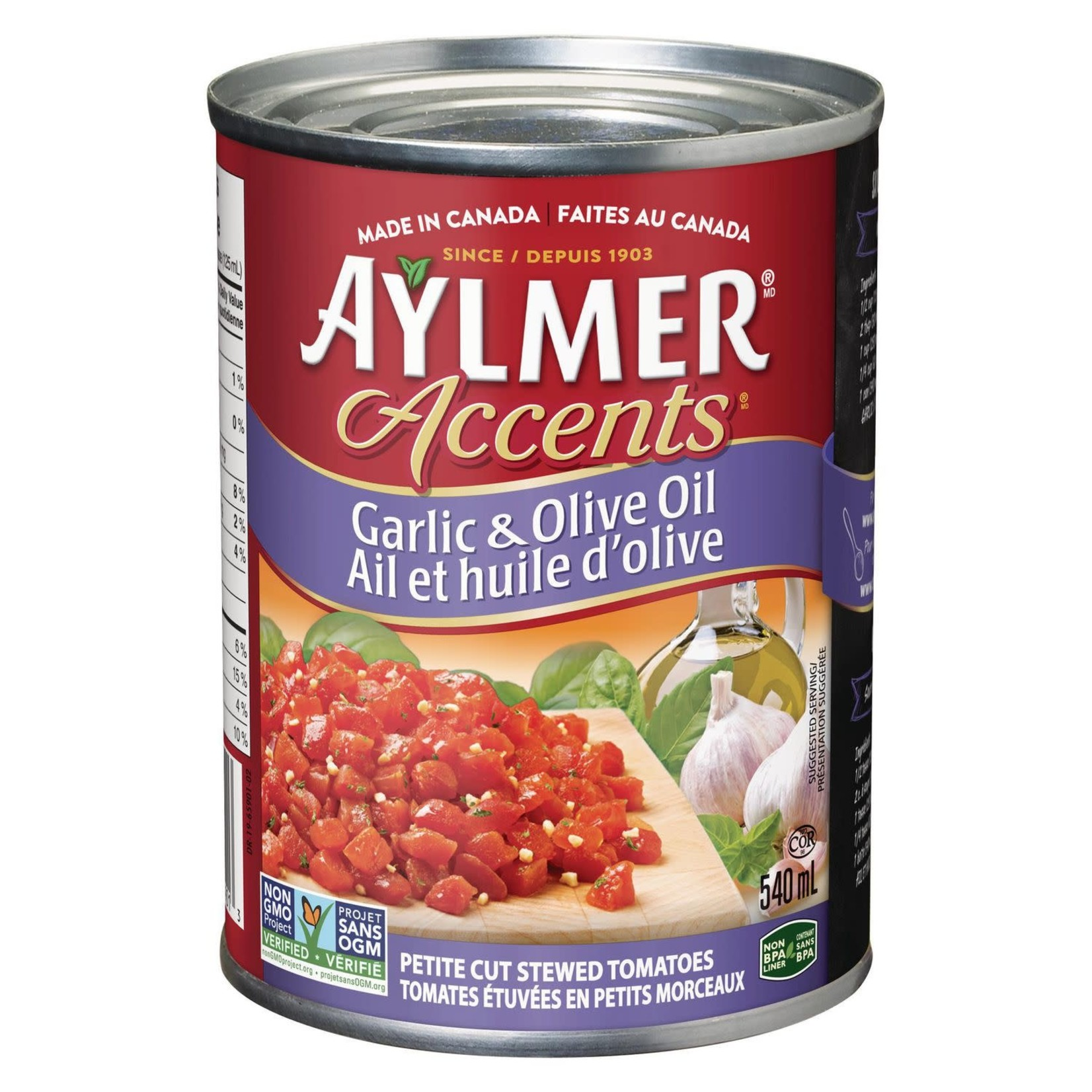 Aylmer Accents Tomatoes - Garlic & Olive Oil 540ml