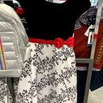 Jona Michelle Black Velvet Girl's Dress with Red Belt and White Skirt with Leaf  Pattern Size 10