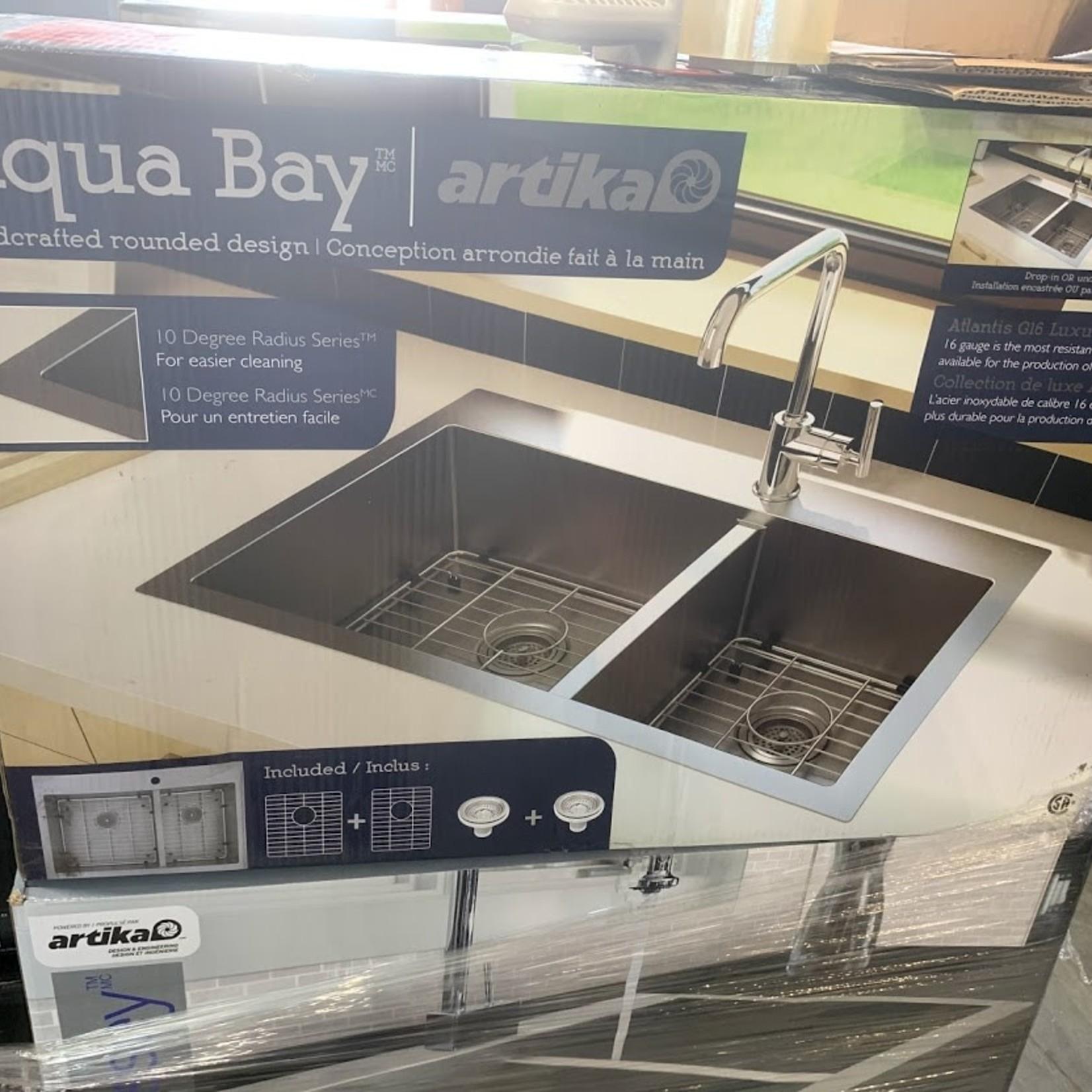 Artika Aqua Bay Atlantis G16 Luxury 60/40 Sink with Grids 31.25-in X 20.5-in X 9in