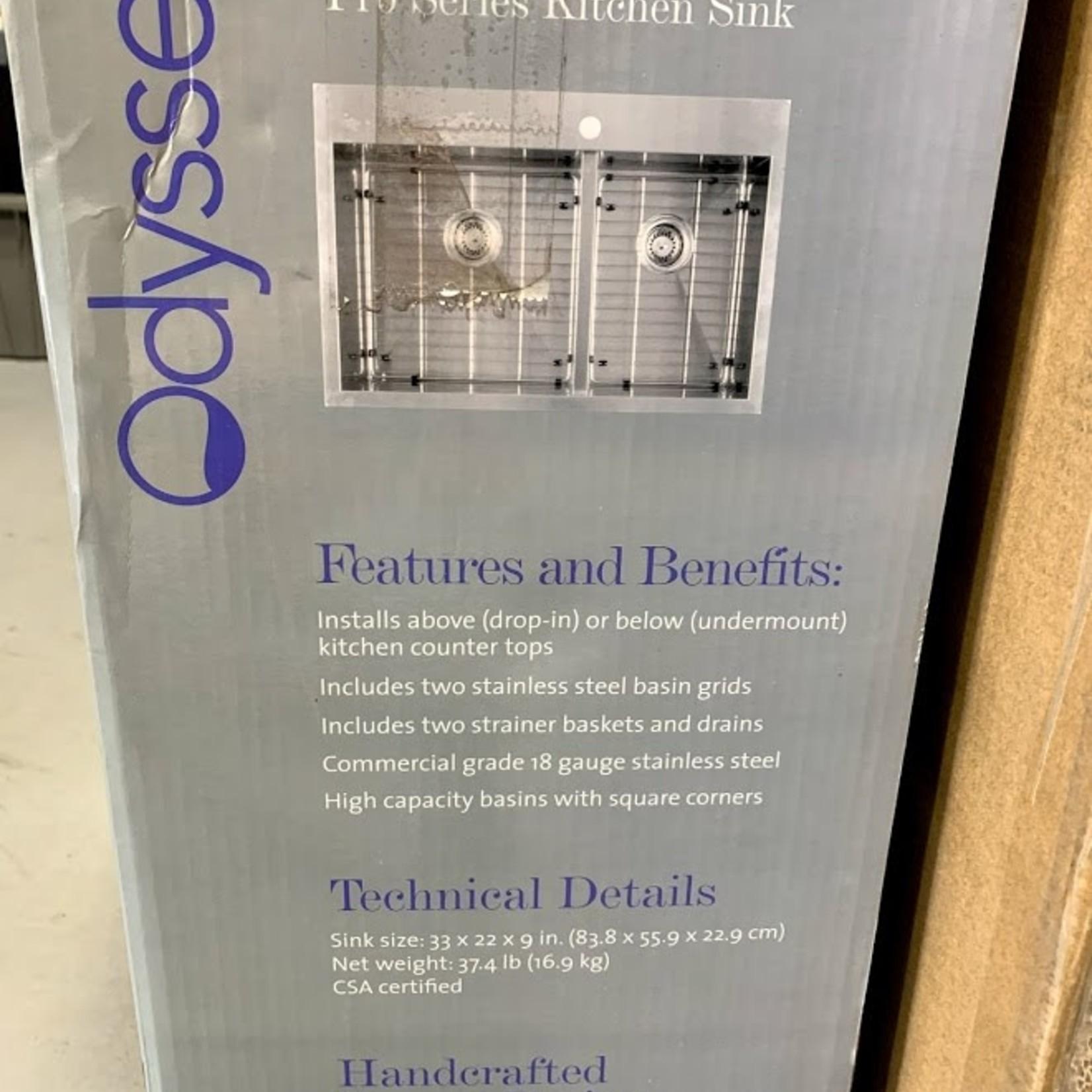 "Odyssey/Atlantis Commercial Grade Pro Series Kitchen Sink 33""x22""x9"""
