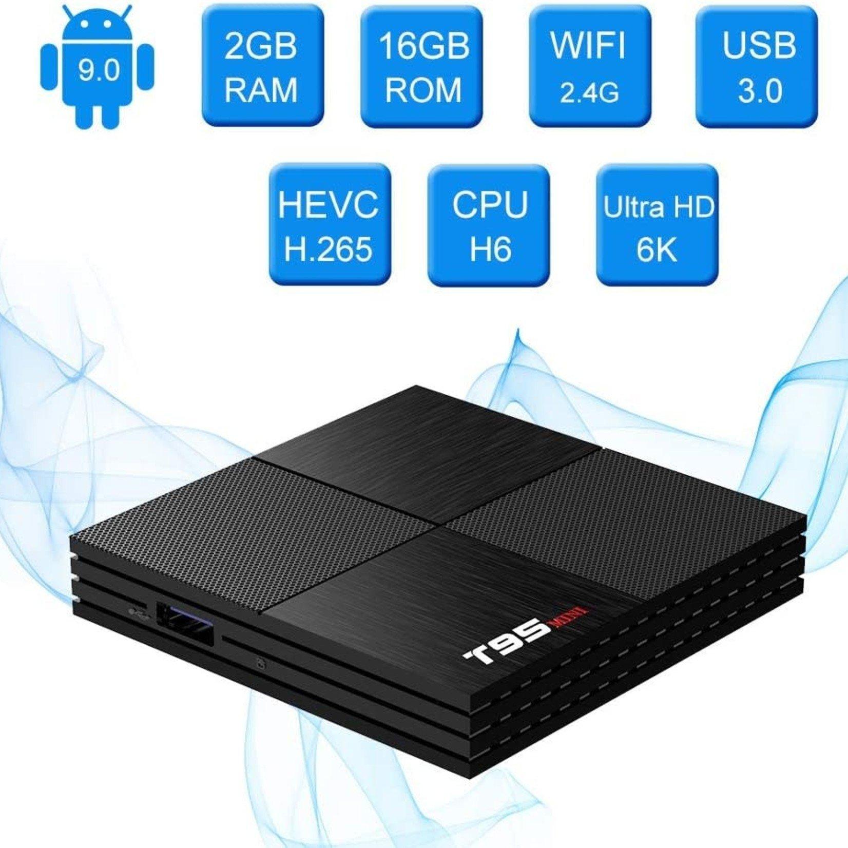 Android 9.0 TV Box T95 Mini Android Box 2GB RAM 16GB ROM H6 Quadcore Smart TV Box 2.4GHz WiFi 3D 6K Streaming Media Player