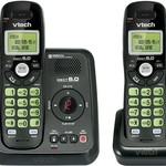 Vtech Dect 6.0 2-Handset Cordless Phone System with Digital Answering Machine and Green Backlit Keypad and Display (CS6124-21), Black