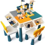 KIDCHEER 7-in-1 Kids Multi Purpose Activity Table & 2 Chairs Set, Building Blocks Table *open box