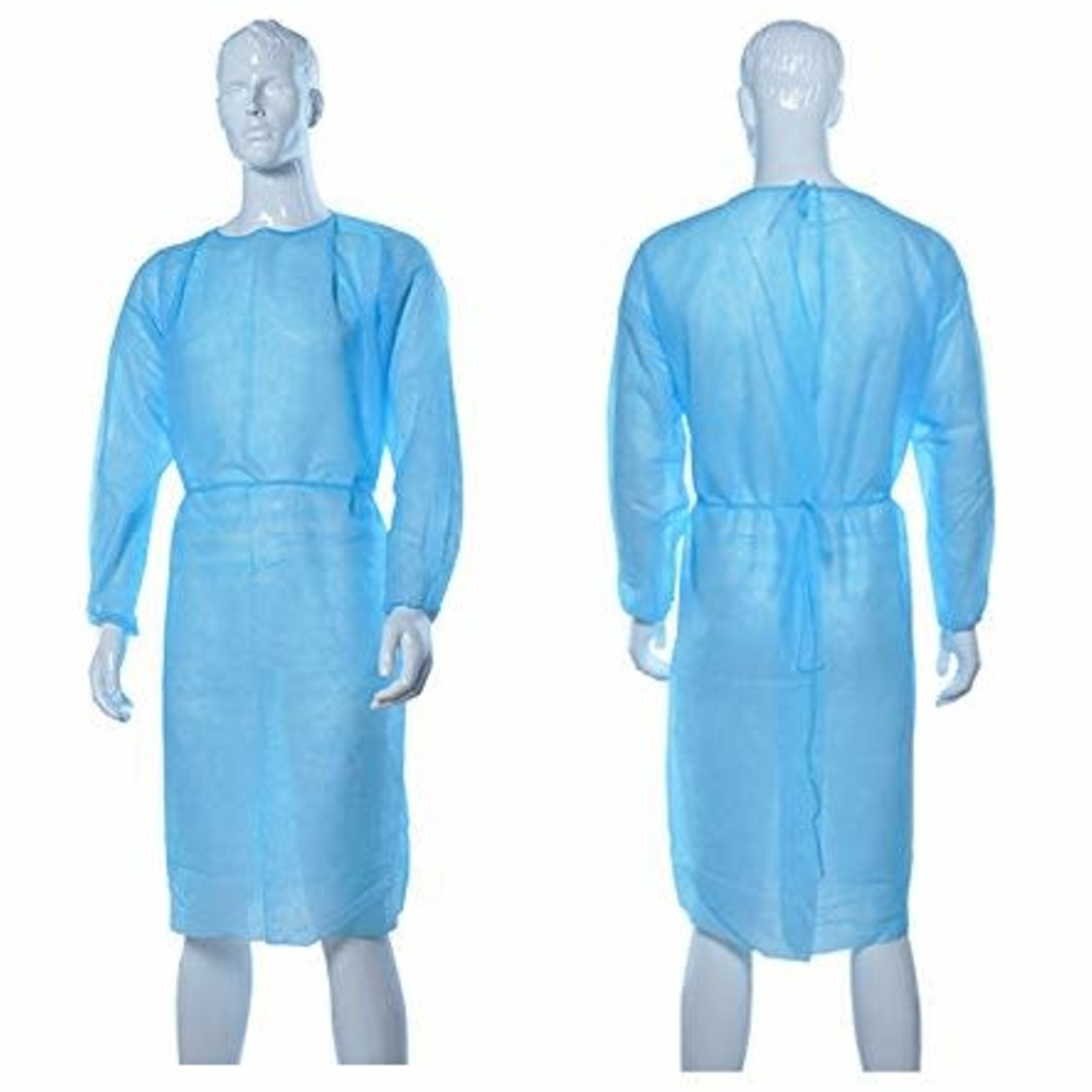 Disposable Isolation Gown Adjustable Ties Latex Free Full Length (Pack of 10)