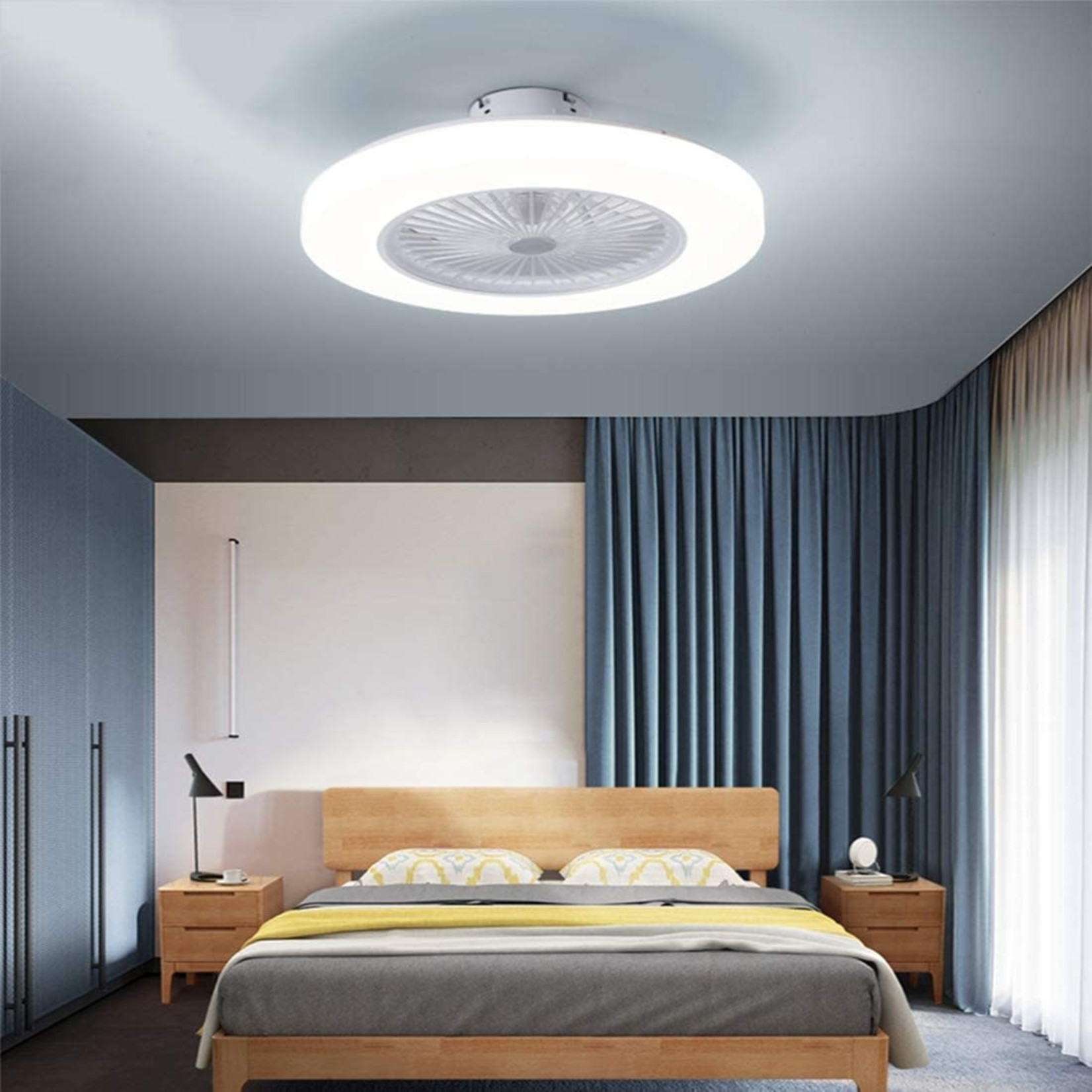 """Modern Ceiling Fan with LED Dimmable Light and Remote Control 22"""""""