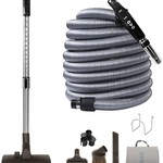 OVO Central Vacuum Accessory set- Telescopic Wand With Deluxe Tool Set - Handle with On/Off Button (35 feet)